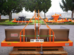 godet de chargement pour tracteur avec basculement mécanique mod prm 140 l